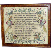 George IV Early 19th Century Silkwork Sampler with Peacocks, Dated 1822