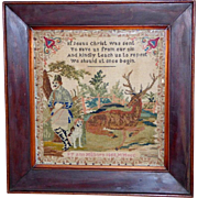 Early Victorian Pictorial Sampler of Hunter and Deer, Dated 1852