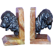 Onyx Bookends with Metal Gordon Setter Dog Busts, after Lecourtier