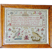 Early 19th Century Silkwork Sampler with Large Birds, Dated 1830
