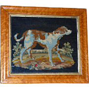 19th Century Victorian Woolwork of a Dog in a Landscape