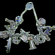 Vintage Silver Charm Bracelet with Heart Padlock