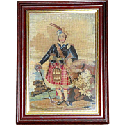 Victorian 19th Century Woolwork Portrait of a Scotsman