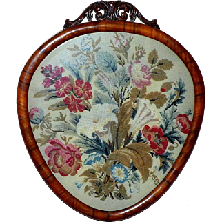 Victorian 19th Century Wool and Silk Panel of Flowers on Felt in a Carved Rosewood Frame