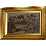 Early 19th Century Woolwork on Silk Embroidery of a House in a Landscape with Figures
