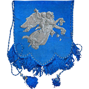 Victorian 19th Century Beadwork Banner of Angel Carrying a Cherub