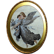 Victorian 19th Century Oval Beadwork and Woolwork Picture of Angel Carrying a Cherub