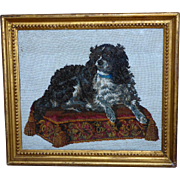 "Victorian Mid-19th Century Beadwork Portrait of the Dog, ""Dash,"" on a Cushion"