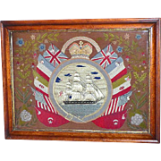 Early Victorian Mid-19th Century Woolie Depicting a Ship in Full Sail