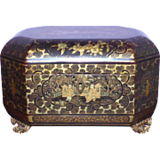 Early 19th Century Chinese Lacquered Tea Caddy with Engraved Pewter Canisters
