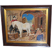 Large Victorian 19th Century Woolwork Picture of Figures, Horses and Dogs in a Courtyard