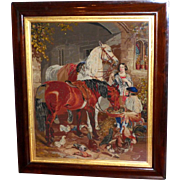 Large and Impressive Victorian 19th Century Woolwork Picture in the Style of Landseer with Horses and Chickens