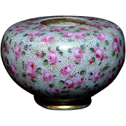 Early 19th Century English Porcelain Inkpot Decorated with Roses and Gilding