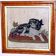 """Rare 19th Century Plushwork and Woolwork Embroidery of """"Dash,"""" Queen Victoria's King Charles Spaniel"""