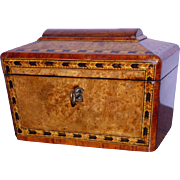 Mid-19th Century Victorian Burr Walnut Tunbridge Ware Tea Caddy