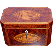 18th Century George III Burr Walnut Inlaid Tea Caddy