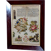 19th Century Victorian Silk on Linen Sampler