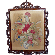 Early Victorian 19th Century Woolwork of an Exotic Bird and Flowers in a Carved Rosewood Frame