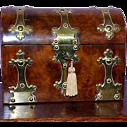 Victorian 19th Century Domed Walnut Stationary Box with Key