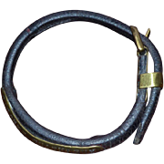 19th Century French Rolled Leather and Inscribed Brass Dog Collar