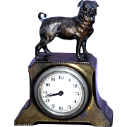 Vintage Desk Clock with Standing Pug Dog