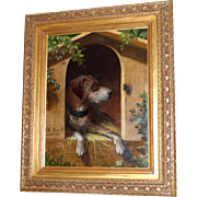 Large and Impressive 19th Century Painting of a Hound Dog and an Intruder, by Karl Ruperti