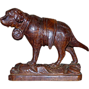 Late 19th Century Black Forest Carving of a St. Bernard Dog