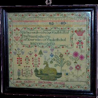 Early 19th Century Regency Sampler, Dated 1822