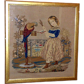 Mid-19th Century Victorian Woolwork, Plushwork and Beadwork Picture of Child and Parrot