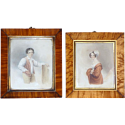 Pair of 19th Century Victorian Watercolors of a Couple