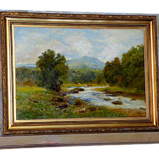 Large Bucolic River Landscape with Cattle, by John Clayton Adams