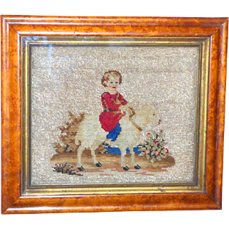 Victorian 19th Century Beadwork and Woolwork Picture of a Child and Sheep