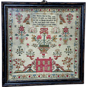 Georgian Silkwork Sampler with Large Birds and House Dated 1808