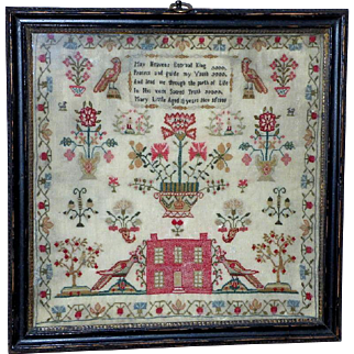Georgian Silkwork Sampler with Large Birds and House Dated 1808