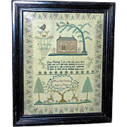 Regency Early 19th Century Silkwork Sampler with Brick House, Trees and Deer