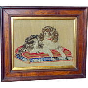 "19th Century Woolwork Pettipoint Depiction of ""Dash,"" Queen Victoria's Favorite Dog"