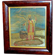 Rare Early 19th Century Silkwork Panel Depicting Noah and the Ark