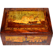 Rare, Stunning 19th Century Victorian Walnut, Marquetry and Tunbridge Ware Sewing Box Inlaid with Sailing Ships