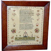 Early Victorian 19th Century Silk Pettipoint Sampler, Dated 1846