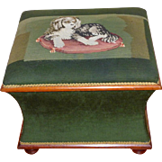 Mid-19th Century Victorian Woolwork Upholstered Ottoman with a King Charles Spaniel (on reserve for Kathy M.)