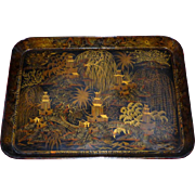 Large Georgian Early 19th Century Chinoiserie-Decorated Papier Mache Tray by Clay