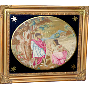 Early 19th Century Woolwork on Silk Depicting Ruth and Boaz