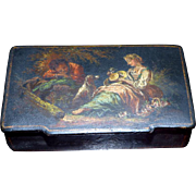 Mid-19th Century Black Lacquered Papier Mache Snuff Box with Romantic Vignette