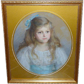Edwardian Pastel Portrait of a Young Girl