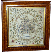 18th Century Silkwork Map Sampler Depicting England and Wales, Dated 1789