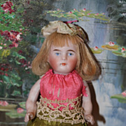 """German Antique All Bisque Doll #600 4,  5 1/4"""" tall straight legs painted eyes"""