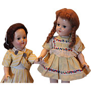 "2 Vintage Ideal Toni, Hard Plastic dolls!. Sisters! 14"" & 17"" tall in size, both in yellow, marked heads. Vintage clothes, shoes and socks! P 91 dolls"