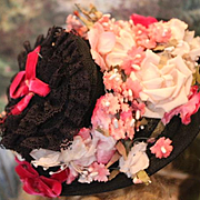 """Gorgeous Black Vintage floral doll hat with  vintage flowers in pinks! Dark pink  velvet ribbons. Fits on a 10"""" head circumference."""