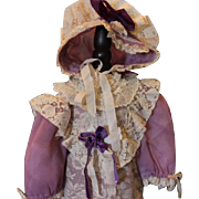 "Lovely Lavender and cream doll dress & matching bonnet! For a 24"" tall doll! Expertly made! Antique laces and netting trims!"