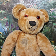 """Old Antique Mohair Chad Valley, tagged Bear.  One eye is broken in half. 16"""" tall in size,  antique Bear!"""
